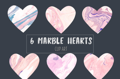 Pink marble hearts clip art