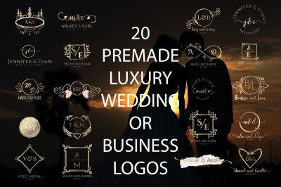20 PREMADE LUXURY AND ELEGANT WEDDING OR BUSINESS LOGOS