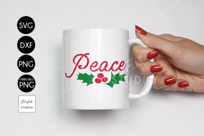 Peace Christmas Holiday SVG cut File