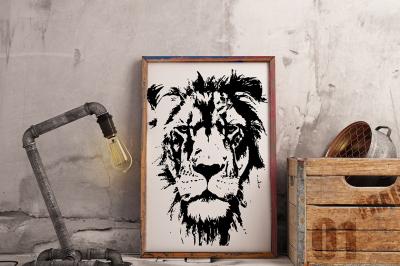 Hand drawn wild Lion