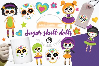 Sugar skull dolls graphics and illustrations
