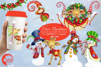 I love Christmas Bundle watercolor cliparts, graphics illustration AMB-1673
