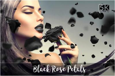 5K Black Rose Petals Overlays