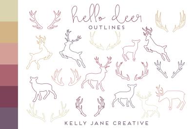 Deer + Antler Outlines