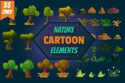 Cartoon Nature Elements Set
