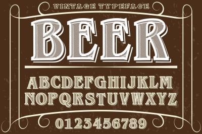 font script typeface handcrafted vector beer