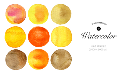 Watercolor hand painted circles collection. 1 BIG JPG FILE ( 5000 × 5000 px)