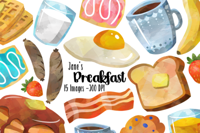 Watercolor Breakfast Clipart