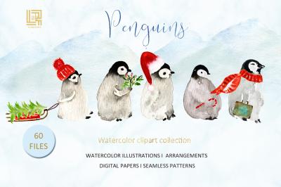 Penguins. Watercolor hand drawn illustrations.