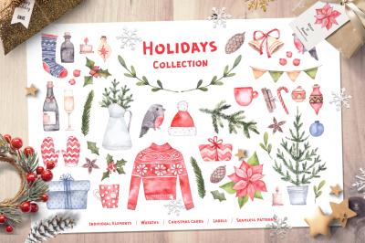 Holidays collection. Xmas Watercolor
