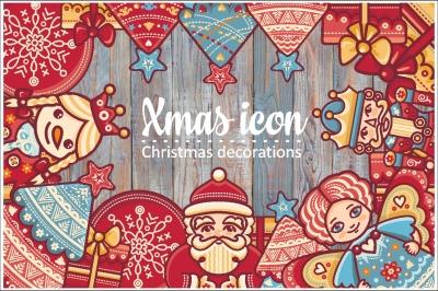 Christmas decorations. Bundle. Xmas characters & decorative elements. Clipart & Lettering.  EPS, AI, JPEG, PNG.
