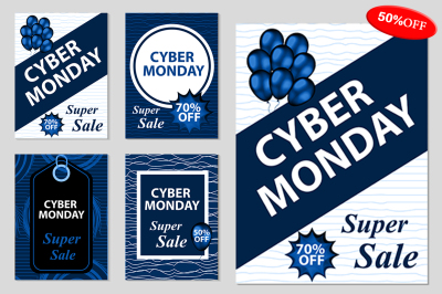 Cyber Monday set flyers/poster