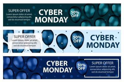 Cyber Monday promotional web banner set