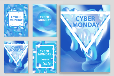 Cyber Monday  set flyers, collection of templates