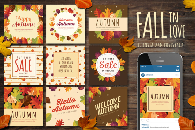 Fall In Love 10 Instagram Post Pack