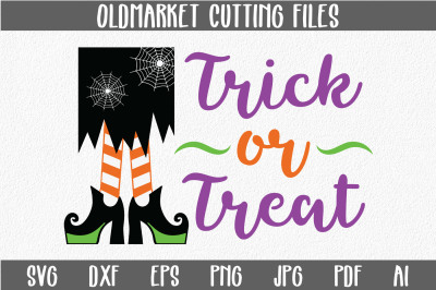 Trick or Treat SVG Cut File - Halloween SVG EPS DXF PNG JPG