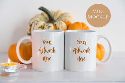 Double mug mockup - pumpkins
