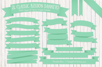 Classic Ribbon Banner Clipart in Mint