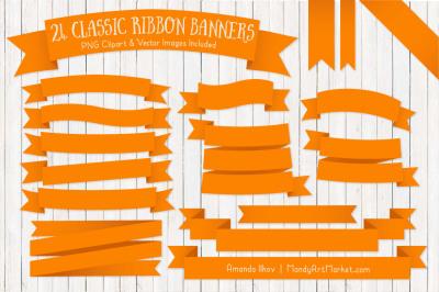 Classic Ribbon Banner Clipart in Orange