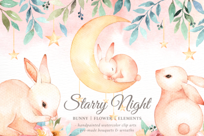 Starry Night Bunny Watercolor Set