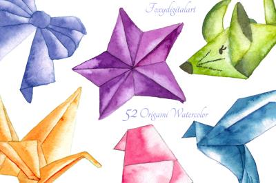 Origami Crane Bird Watercolor Clipart