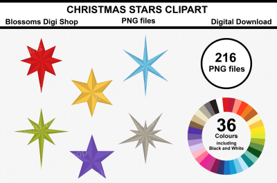 Christmas Stars Clipart, 216 multi colours PNG files