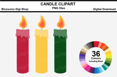 Candle Clipart, 36 multi colours PNG files