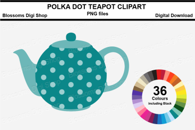 Teapot Clipart, 36 multi colours PNG files