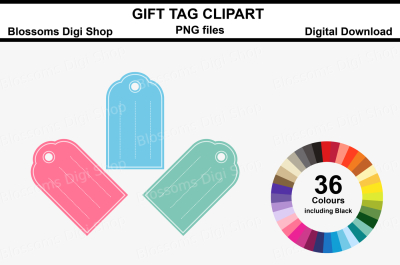 Gift Tag Clipart, 36 multi colours PNG files