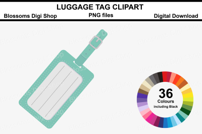 Luggage Tag Clipart, 36 multi colours PNG files