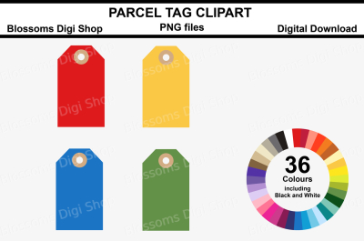 Parcel Tag Clipart, 36 multi colours PNG files