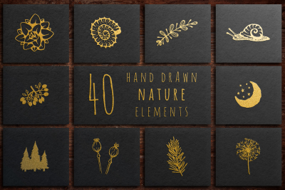 40 Hand Drawn Nature Elements