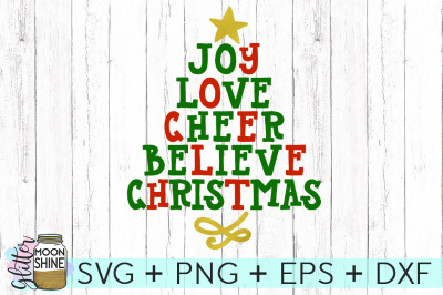Christmas Word Tree SVG PNG DXF EPS Cutting Files