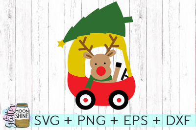 Little Red Car Reindeer SVG PNG DXF EPS Cutting Files