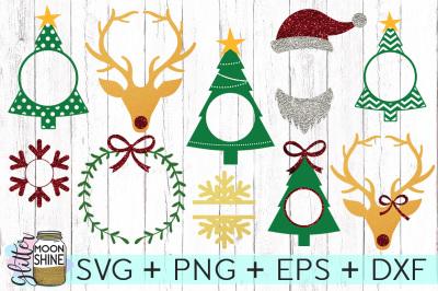 Christmas Monogram Frame Bundle SVG PNG DXF EPS Cutting Files