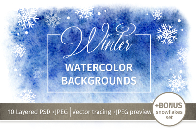 Watercolor Winter Backgrounds
