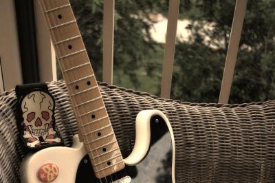Vintage Black and White Guitar