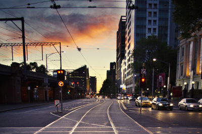 Melbourne City Streets Sunset