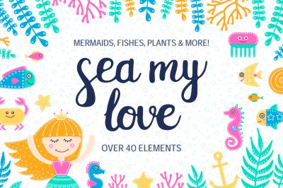 Sea My Love. Clip Art Set.