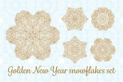 Golden New Year snowflakes set