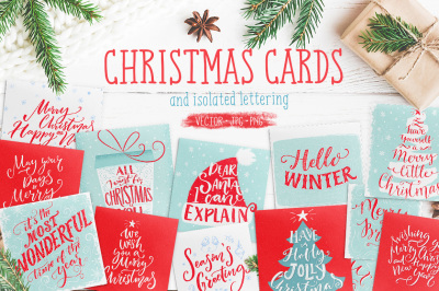 Christmas cards with hand lettering