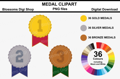 Medal Clipart, 108 multi colours PNG files