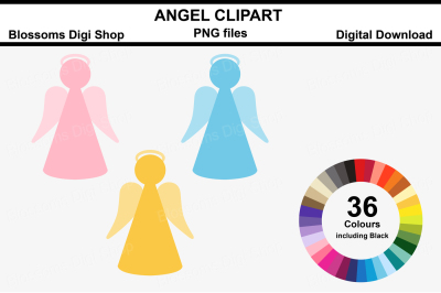 Angel Clipart, 36 multi colours PNG files