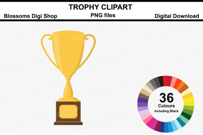 Trophy Clipart, 36 multi colours PNG files