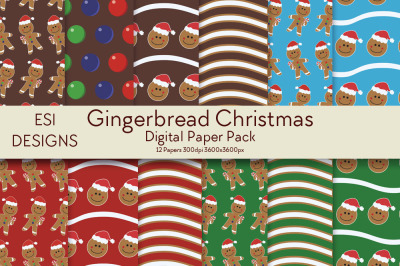 Gingerbread Christmas Digital Paper Pack.