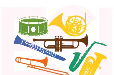Musical Instrument Design Set. SVG, DXF, PNG, EPS