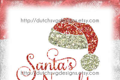 Cutting file Santa's Naughty with hat, in Jpg Png SVG EPS DXF, for Cricut & Silhouette, christmas svg, santa svg, santa hat svg, naughty svg