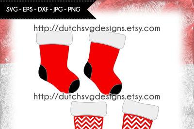 2 Christmas stockings, in Jpg Png SVG EPS DXF, for Cricut & Silhouette, stockings svg, socks svg, christmas svg, christmas stockings svg