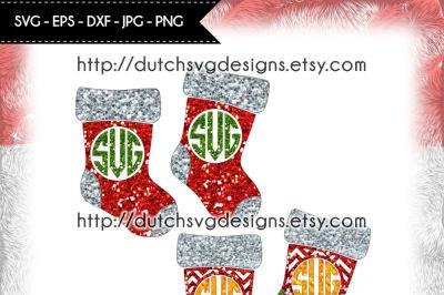 2 Christmas monogram stockings, in Jpg Png SVG EPS DXF, Cricut & Silhouette, stockings svg, socks svg, christmas svg, monogram svg