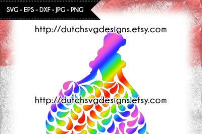 Princess cutting file, in Jpg Png SVG EPS DXF, for Cricut & Silhouette, princess svg, princess cut file, princess plotter file
